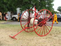 We often have items loaned from the museum for events and displays. Hose reel in December 2012 being used in the fire brigade 150th display